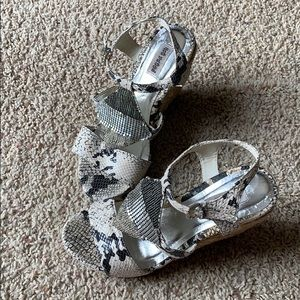 Snakeskin metallic detail wedge heel sandals